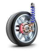 Wheel, shock absorber. — Stock Photo