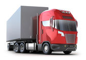Red Truck with container isolated on white. — Stock Photo