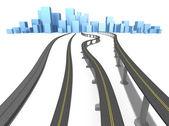 Carreteras y ciudad azul aislado en blanco — Foto de Stock