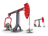 Oil Rig : Pump jacks isolated on white — Stockfoto