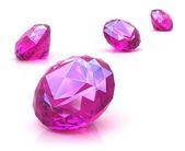 Ruby edelstenen op wit oppervlak. 3d render. — Stockfoto