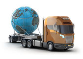 Modern truck transporting the globe isolated on white. — Stock Photo