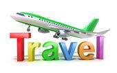 Reisen wort konzept mit flugzeug isoliert auf weiss. — Stockfoto
