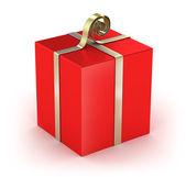 Geschenkbox mit goldenen bändern isoliert auf weiss — Stockfoto