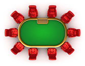 Poker table with chairs top side view isolated — Stock Photo