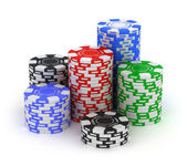 Poker chips - isolated on white — Stock Photo