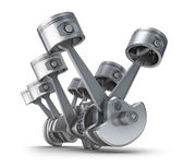 V8 发动机活塞。3d 图像. — 图库照片