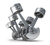 V8 motor kolben. 3d-bild. — Stockfoto