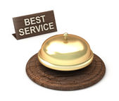 Best Service, golden bell — Stock Photo