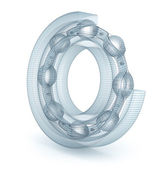 Wire bearing design, isolated on white — Stock Photo