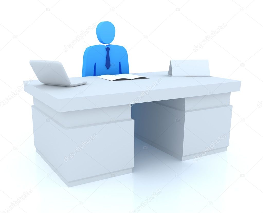 Office manager and empty name tag — Stock Photo #7243789
