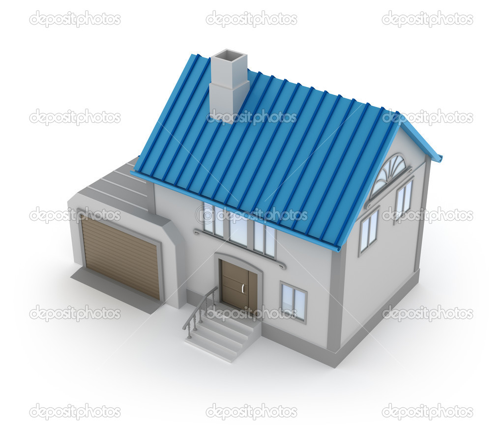Concept of house with garage top view isolated on white for House on top of garage
