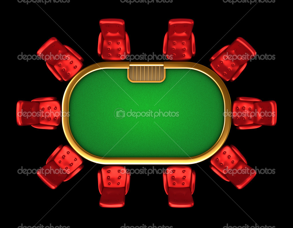 Table de poker avec chaises haut c t vue isol for Table vue de haut