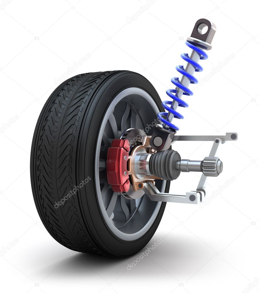 Wheel, shock absorber and brake pads — Stock Photo #7245211