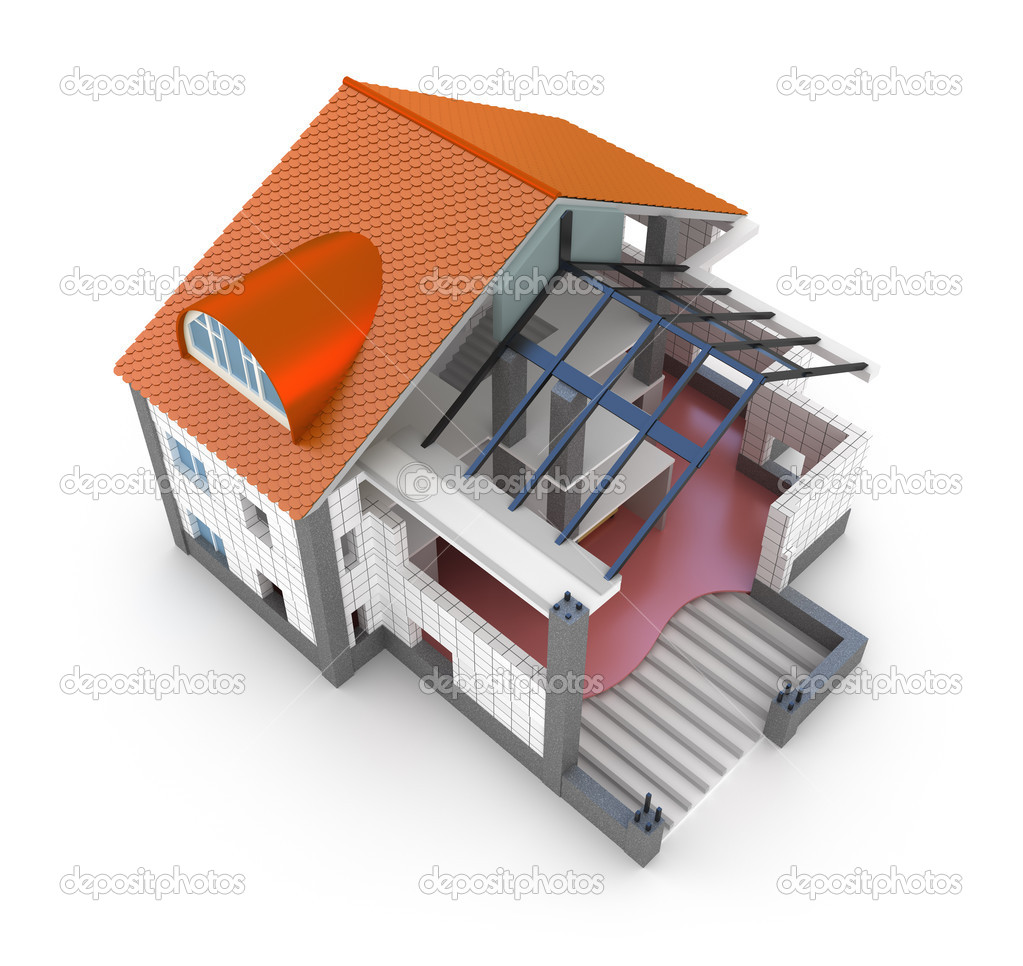 Small family house. 3D image — Stock Photo #7246866