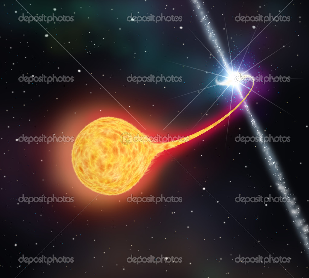 Star absorption by a black hole ( pulsar ). 3D illustration  Stock Photo #7247172