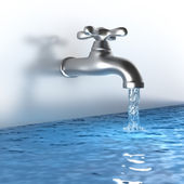 Chrome tap with a water stream — Stock Photo