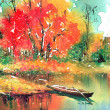 Beautiful River with Boat - Art Landcape Nature Oil Painting — Stock Photo