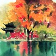 An oil painting with beautiful autumn scene - Stock Photo