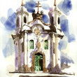 Art Landcape Nature Oil Painting - White Church With Blue Door And WIndows — Stock Photo