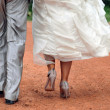 Bride and groom walking on dust road — Stock Photo #7247020