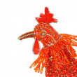 Close-up profile of beadwork Hen — Stock Photo