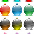 Stock Vector: Christmas Tree Decorative Spheres