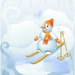 Snowman to ski — Stock Vector #7884345