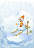 Snowman to ski — Stock Vector
