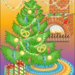 New Year tree with sweets & warm fireplace - Imagen vectorial