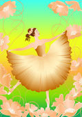 Цветочная балерина-2 — Stock Vector