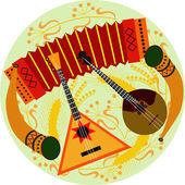 Русские народные музыкальные инструменты — Stock Vector