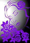 Женщина с розами — Stock Vector