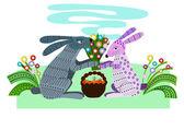 Влюблённые зайцы на свидании — Stock Vector