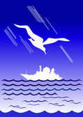 Белая чайка и белый пароход — Stock Vector