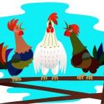 Три поющих петуха — Stock Vector