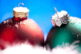 Weihnachten schnee eis bokeh kış kugel weihnachtsbaum — Stok fotoğraf