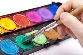Pinsel haarpinsel spitze farbkasten ölfarbe kunst schule gemälde — Stock fotografie