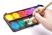 Pinsel haarpinsel spitze farbkasten ölfarbe kunst schule gemälde — Stock Photo