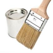 Farbe farbfächer pinsel farbtopf renovieren heimwerker baumarkt — 图库照片