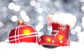 Weihnachten schnee eis nikolaus winter kugel weihnachtsbaum — Stock Photo