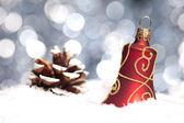 Weihnachten schnee eis Glocke winter Tanne Zapfen weihnachtsbaum — Stock Photo