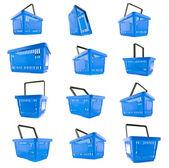 Warenkorb korb blau オンライン ショップ einkaufen supermarkt — ストック写真