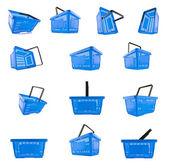 Warenkorb korb blau online shop einkaufen supermarkt set — Stock Photo