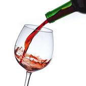 Wein weinflasche Rotwein Splash Glas — Stock Photo