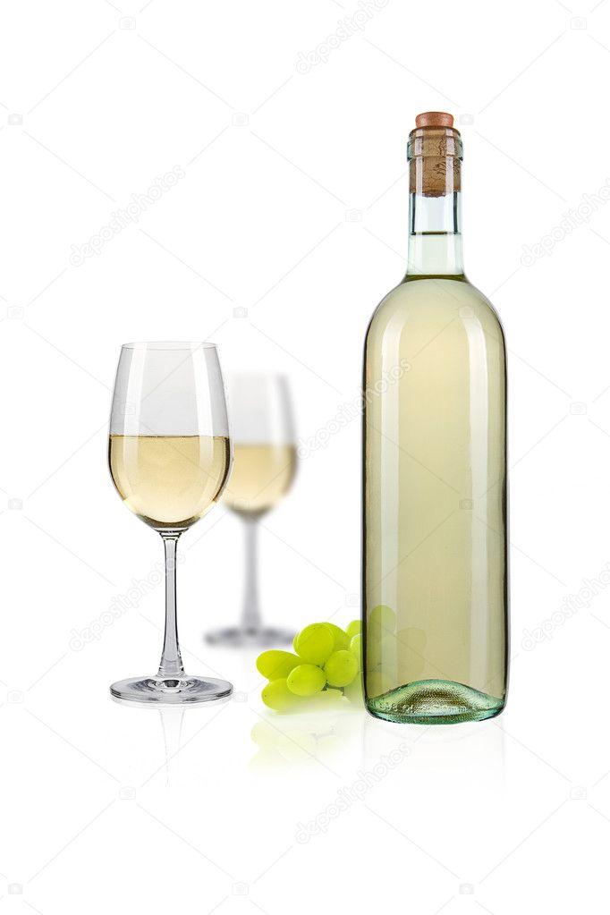 weisswein flasche mit glas stockfoto rclassenlayouts 7882270. Black Bedroom Furniture Sets. Home Design Ideas