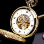 Uhr taschenuhr gold uhrzeit zeiger countdown antik — Stock Photo