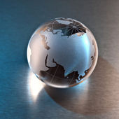 Globus erdball geo karte glas kristal biologich licht metall — Stock Photo