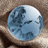 Globus erdball geo karte glas kristal landwirtschaft jutesack — Foto de Stock