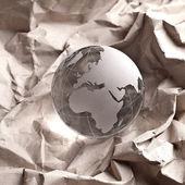 Globus erdball geo glas kristal cartón reciclado zerknittert — Foto de Stock